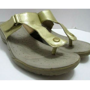 Skechers Tone Up Sandals Womens Size 9 Gold Metal